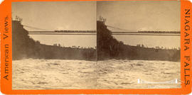 Stereoview showing  a train crossing the railway suspension bridge at Niagara Falls