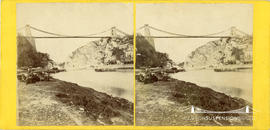 Stereoview of the Clifton Suspension Bridge showing a passenger waiting for the Rownham Ferry