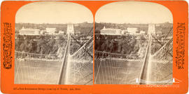Stereoview showing the new suspension bridge at Niagara Falls