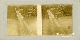 Stereoview of the Lewiston Suspension Bridge over the Niagara River taken from above
