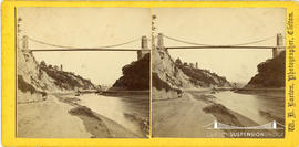 Stereoview of Clifton Suspension Bridge from the Portway