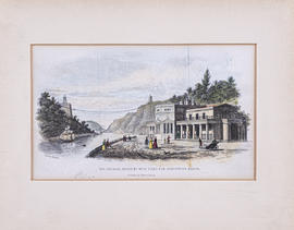 Print showing Hotwell House and the Clifton Piers