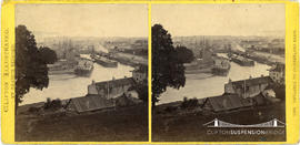 Clifton Illustrated stereoview of the entrance to the Cumberland Basin taken from Rownham Hill
