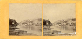 Stereoview of the Avon Gorge showing incomplete bridge in the distance