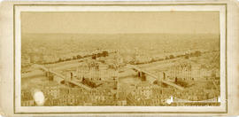 Stereoview of the Pont Louis-Philippe suspension bridge, also known as the Pont de la Reforme, Paris