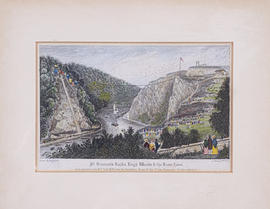 Engraving showing the laying of the foundation stone for Clifton Suspension Bridge