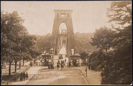 Postcard of the Clifton Suspension Bridge approach and the toll houses from the Clifton side