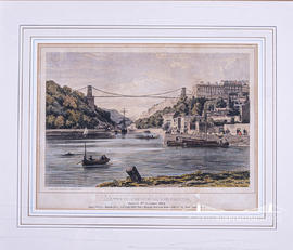 Colour lithographic print of Clifton Suspension Bridge with statistics