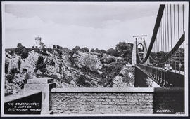 Postcard showing the Clifton Suspension Bridge and the Observatory