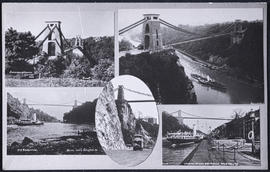 Postcard showing five different views of the Clifton Suspension Bridge