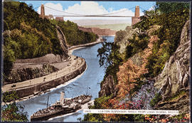 Postcard showing the Clifton Suspension Bridge, the Portway and a paddle steamer.
