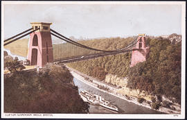 Postcard of Clifton Suspension Bridge taken from the Clifton side showing a paddle steamer
