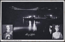 Postcard showing the Clifton Suspension Bridge illuminated for the Silver Jubilee of King George ...