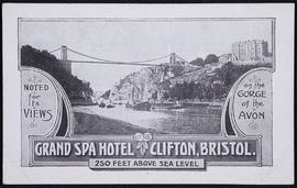 Postcard of the Clifton Suspension Bridge and Hotwells advertising the Grand Spa Hotel