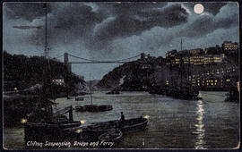 Postcard showing Clifton Suspension Bridge and ferry at night