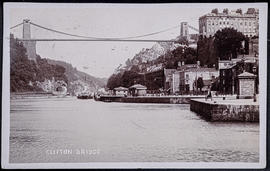 Postcard of the Clifton Suspension Bridge and Hotwells with a paddle steamer