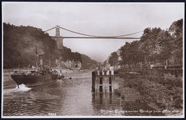 Postcard of the Clifton Suspension Bridge and a boat