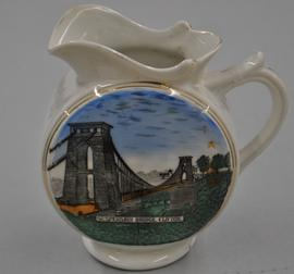 Round bodied jug decorated with a colour transfer image of Clifton Suspension Bridge